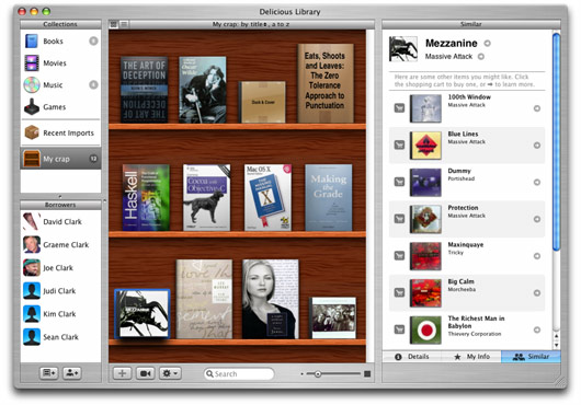 "Library's tri–panel interface splits between media categorization and playlist–like ""shelves"", the contents of said shelves, and details pertaining to the selected item"