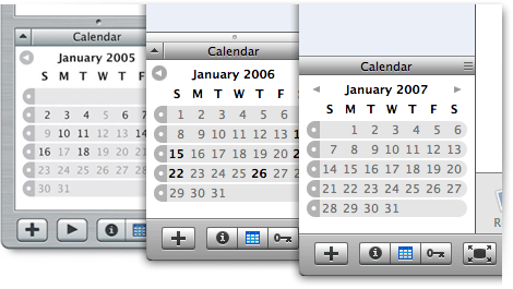 The 2006 Calendar pane's splitter looks out of place with its Aqua theme