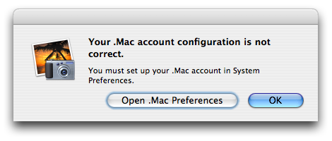 My .Mac account configuration is not correct? And I must set it up in System Preferences? Must?