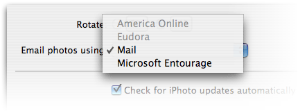 But for some reason, in preferences there's a dropdown for you to choose between Mail, AOL, Eudora, and Entourage to do the mailing.