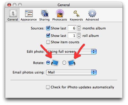 The 'rotate image' graphics in the general preferences, holdovers from iPhoto 4, have finally been brought up to speed with the rest of the app