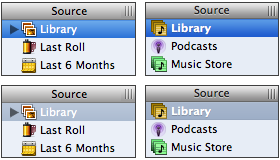 iPhoto's source list has just the teensiest little bunch of problems, compared to iTunes.