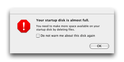 """Your startup disk is almost full. You need to make more space available on your startup disk by deleting files."""