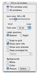 Finder view options…